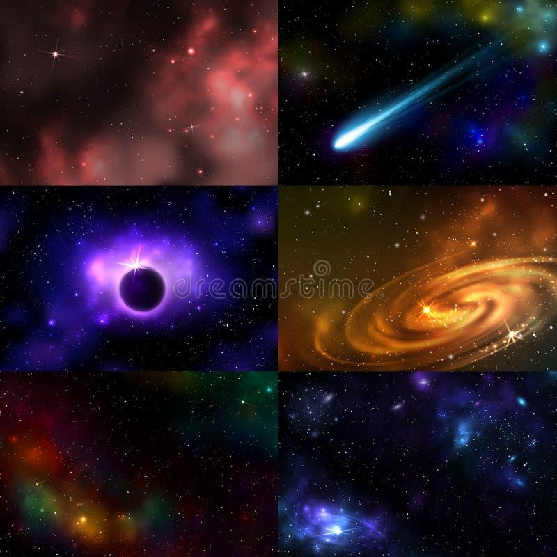 För utrymmeillustration för stjärnklar yttre galax kosmisk vektor för konstellation för natt för kosmos för nebulosa för astronom vektor illustrationer