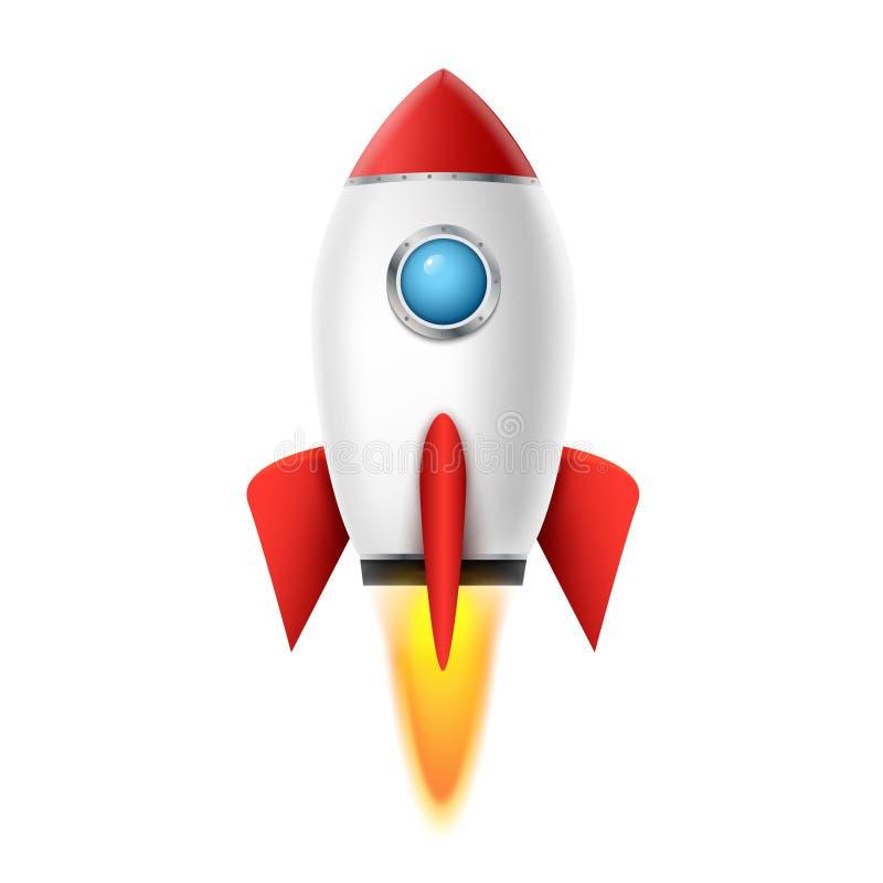för utrymmeskepp för raket 3d bakgrund för lansering Realistisk design för rocketshiprymdskeppvektor Idérik symbol för anslutning stock illustrationer