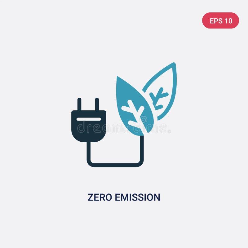 För utsläppvektor för två färg nollsymbol från smart husbegrepp det isolerade blåa nollsymbolet för utsläppvektortecknet kan vara vektor illustrationer