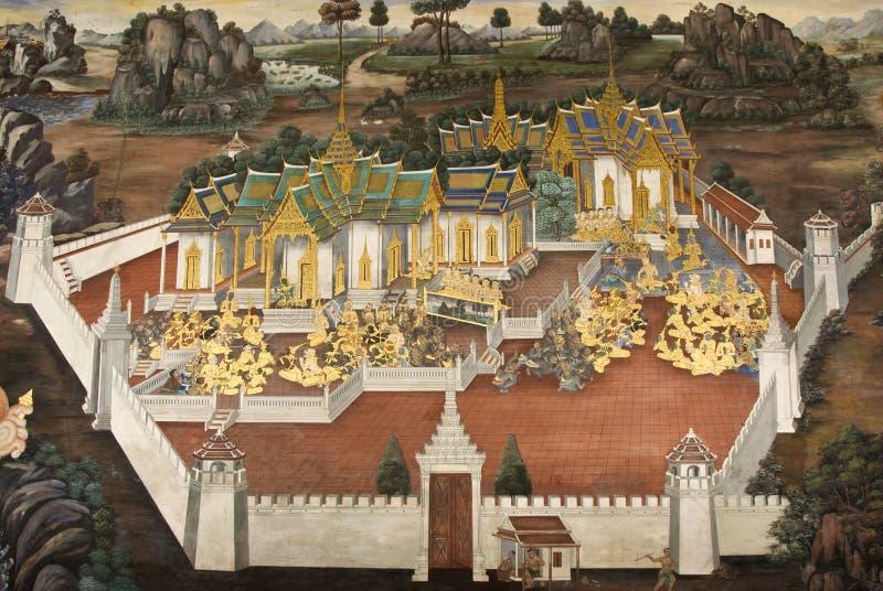 för vägg- wat för vägg målningsphra för kaew thai royaltyfria bilder