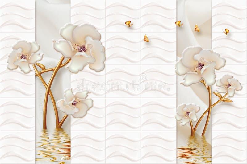 för väggmålningtapeten för tolkningen 3d abstrakt begrepp för marmor med guld- blommor smyckar och försilvrar guld- bakgrund stock illustrationer