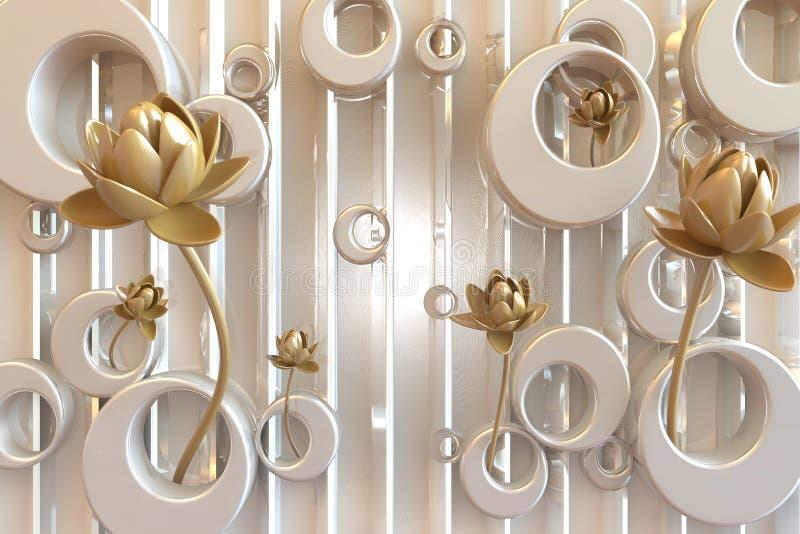 för väggmålningtapeten för tolkningen 3d abstrakt begrepp med guld- blommor smyckar och försilvrar guld- bakgrund vektor illustrationer