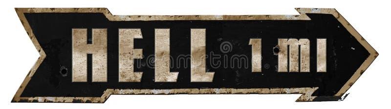 För vägmärkemetall för huvudväg till helvetet pil för Grunge arkivbilder