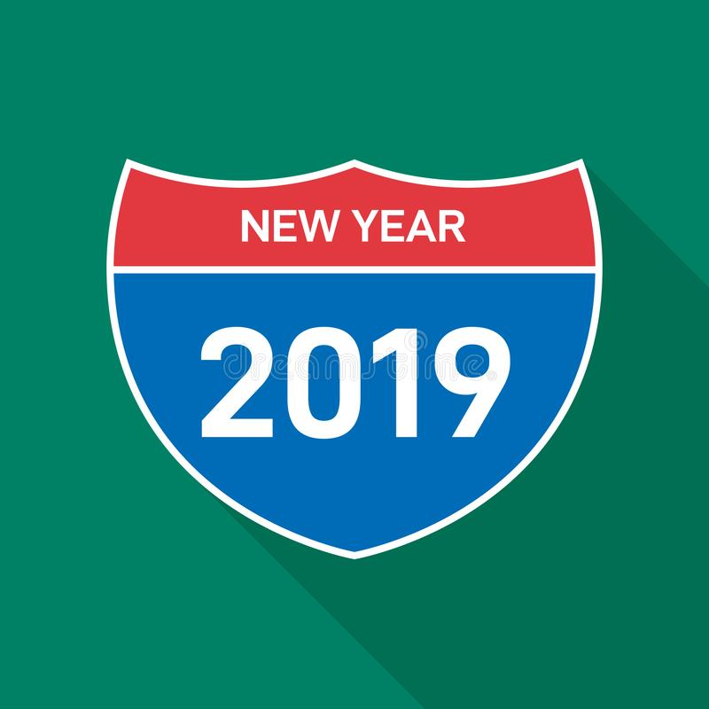 för vägmärkeriktning för trafik 2019 plan design royaltyfri illustrationer