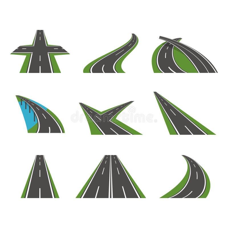 För vägsymboler för tecknad film perspektiv buktad uppsättning vektor vektor illustrationer