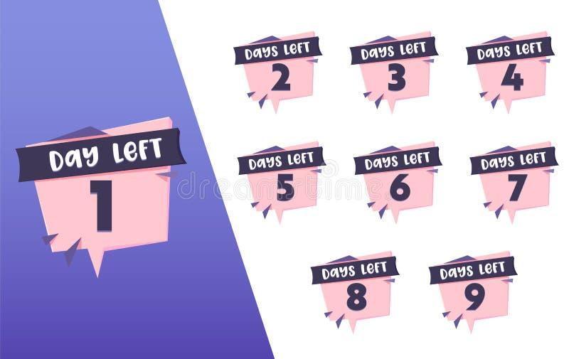 1 för vänstra uppsättning för emblem räkningsrosa färger för dag svarta Annonsering av design för Promoklistermärkebeståndsdel Sh royaltyfri illustrationer