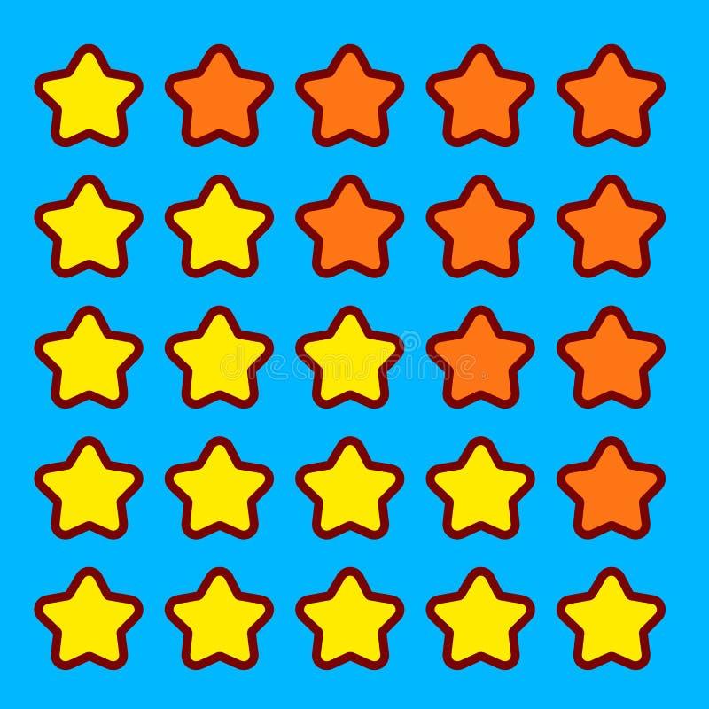 För värderingsstjärnor för apelsin modig manöverenhet för knappar för symboler stock illustrationer