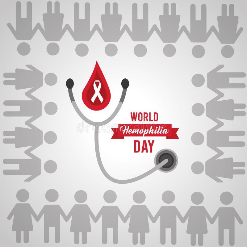 För världsblödarsjukadag för folk enhet tillsammans vektor illustrationer