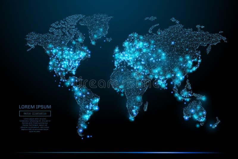 För världskarta poly blått lågt vektor illustrationer