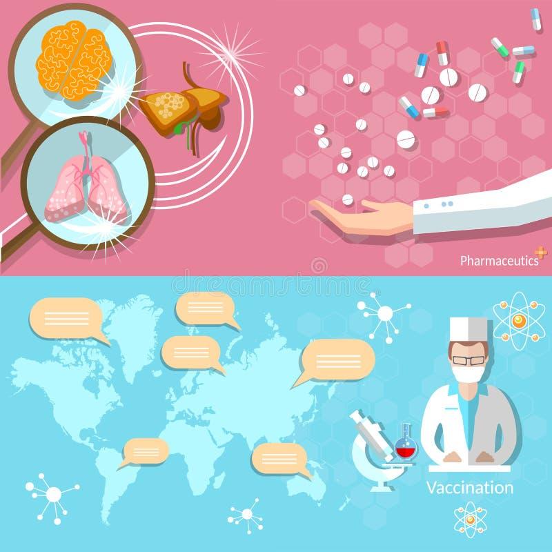 För världskartamedicinsk forskning för medicin internationella baner stock illustrationer