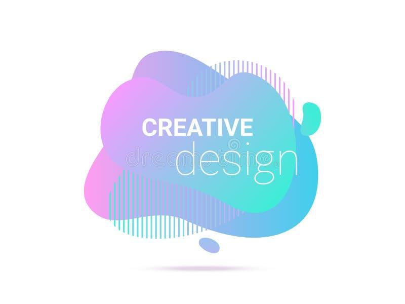 För vätskeformer för vätskefärg abstrakt bakgrund för modell för band Abstrakta vätskeneonblått för vektor och rosa purpurfärgad  royaltyfri illustrationer