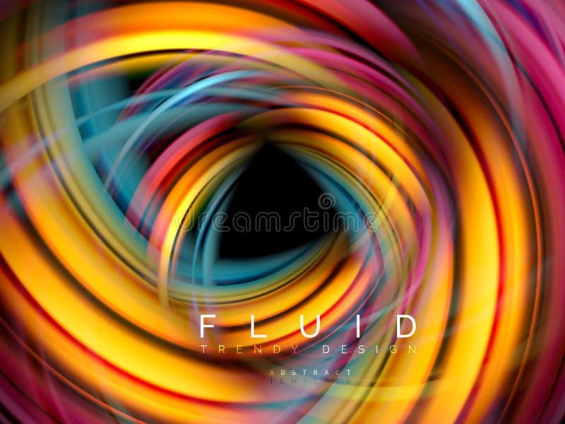 För vågabstrakt begrepp för vätska slät bakgrund, flödande glödande färgrörelsebegrepp, moderiktig abstrakt orienteringsmall för vektor illustrationer