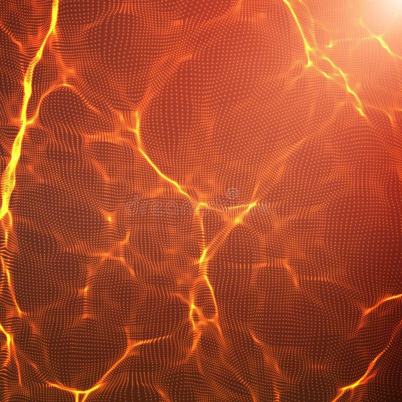 För vågingrepp för abstrakt vektor röd bakgrund Punktmolnsamling Kaotiska ljusa vågor Teknologisk cyberspacebakgrund royaltyfri illustrationer