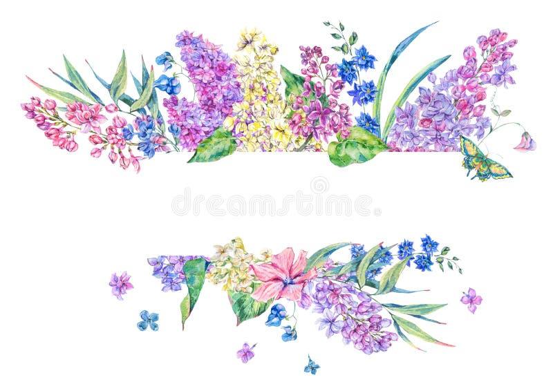 För vårhälsning för vattenfärg blom- kort med lilan stock illustrationer