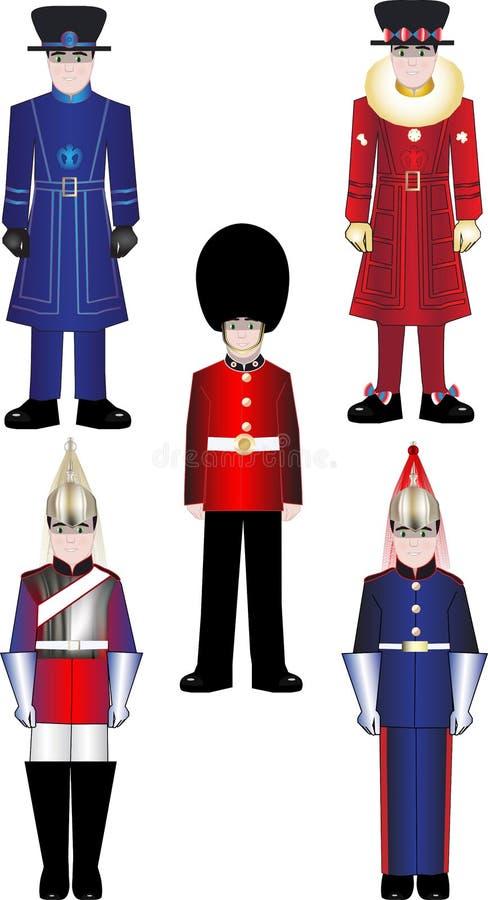 För vaktvektor för Queens kungliga illustrationer royaltyfri illustrationer