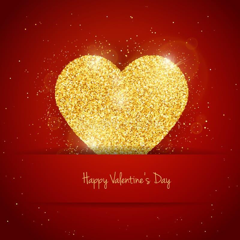 För valentin` s för vektorn blänker det lyckliga kortet för hälsningen för dagen med brusande guld texturerad hjärta på röd bakgr royaltyfri illustrationer