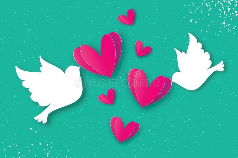 För valentin` s för origami lyckligt kort för hälsning för dag Flyga förälskelsefåglar i papperssnittstil Ett par av duvor, i att royaltyfri illustrationer