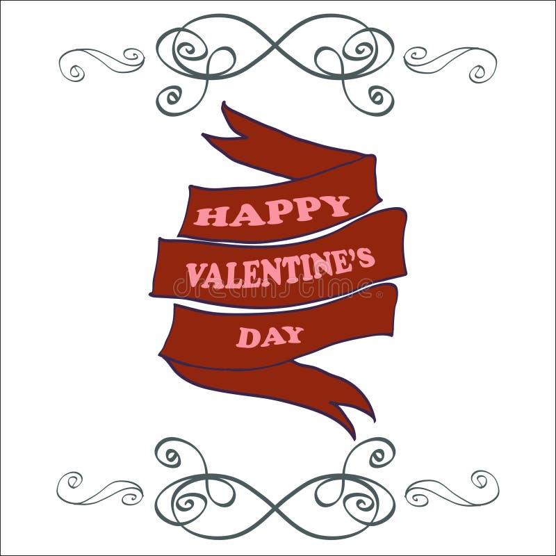För valentin` s för vektor lyckligt kort för hälsning för dag tecknad hand royaltyfri illustrationer
