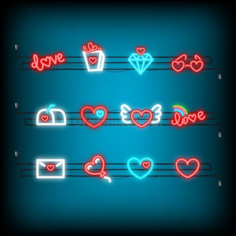 För valentindag för neon lycklig symbol för uppsättning vektor illustrationer