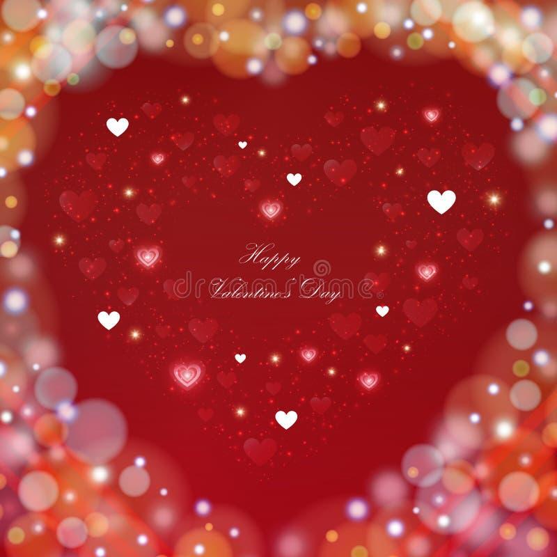 För valentindag för suddighet färgrik bakgrund med hjärtor royaltyfri illustrationer