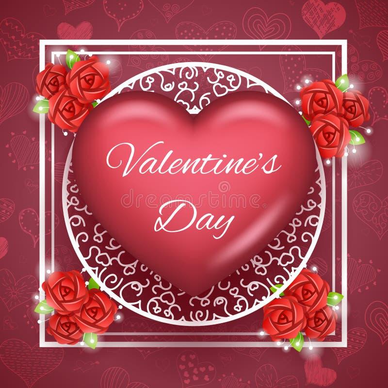 För Valentine Day Greating Card Template för blommahjärtatext illustration för vektor för symbol för symbol 3d för övre design åt vektor illustrationer