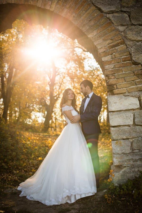För valentynenygift person för saga romantiskt krama för par royaltyfria bilder