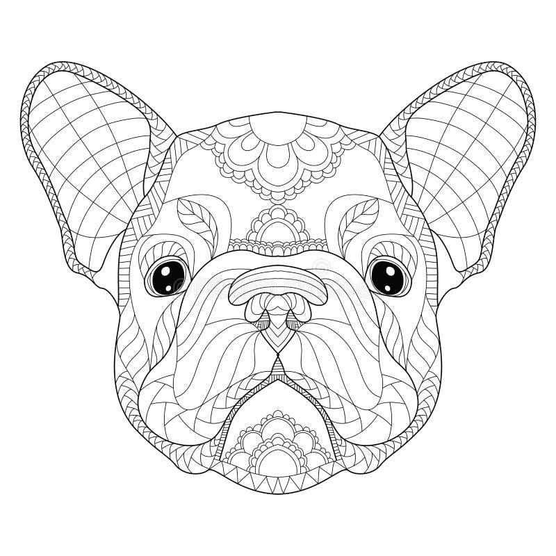 För valphuvudet för den franska bulldoggen zentangle stiliserade, vektorn, illustrati royaltyfri illustrationer