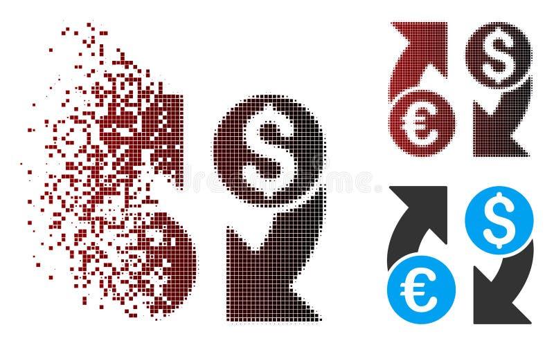 För valutaändring för splittrat PIXEL rastrerad symbol royaltyfri illustrationer
