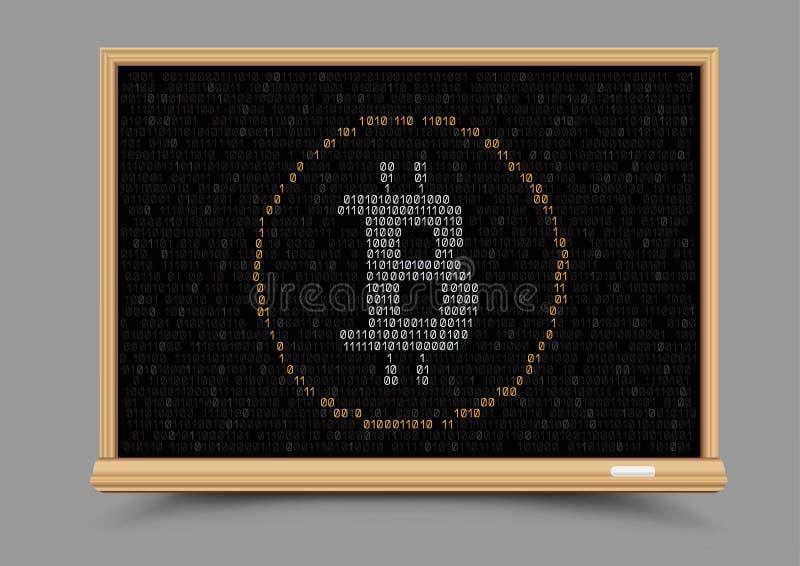 För valutabitcoin för svart tavla crypto kurs royaltyfri illustrationer