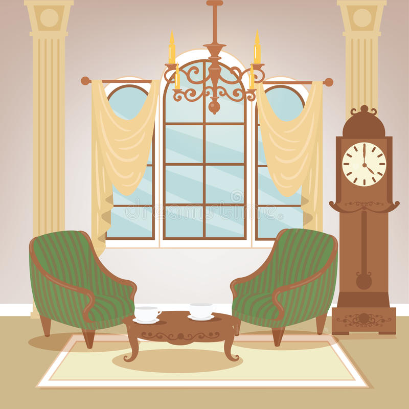 för vardagsrumsofa för vinkelformig matställe inre vagn klassisk interior tappning för stil för illustrationlilja röd vektor illustrationer