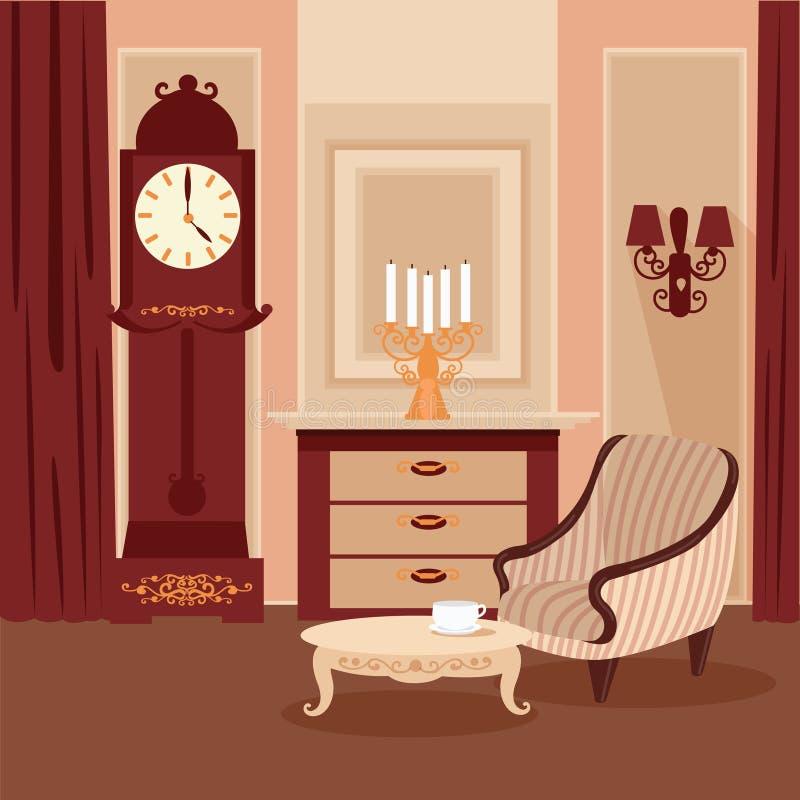 för vardagsrumsofa för vinkelformig matställe inre vagn klassisk interior tappning för stil för illustrationlilja röd royaltyfri illustrationer