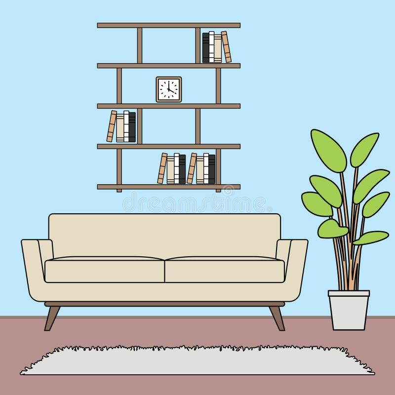 För vardagsrumuppsättningar för blått tema enkel minimalist mall royaltyfri illustrationer