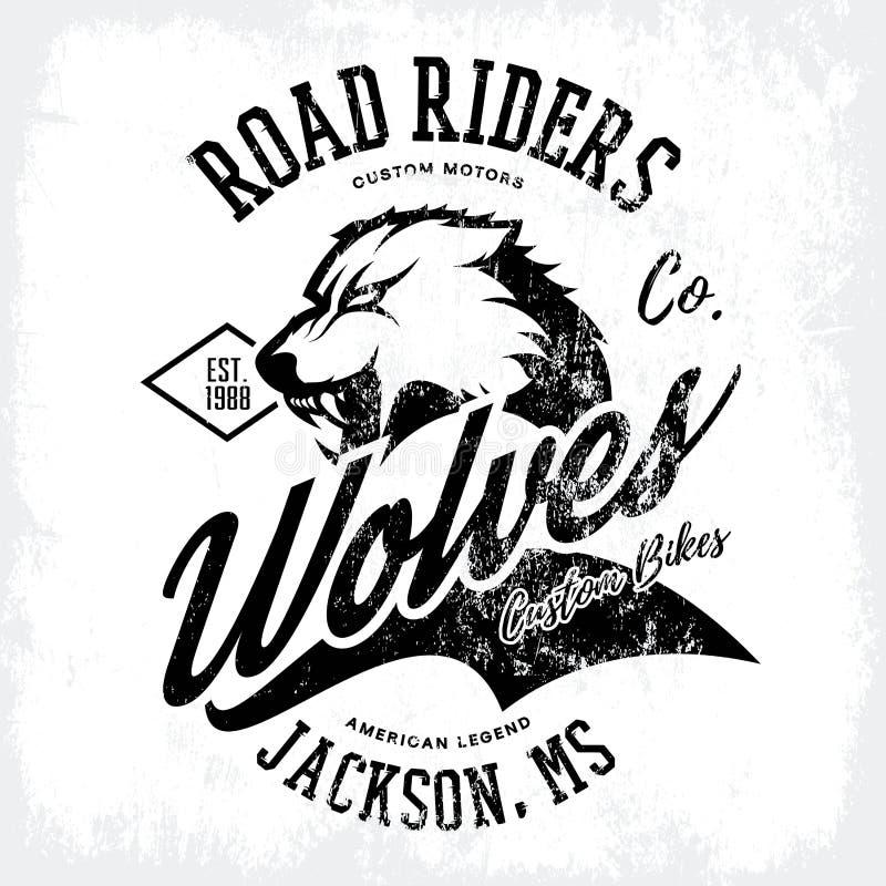 För vargcyklister för tappning som amerikansk rasande design för vektor för tryck för utslagsplats för klubba isoleras på vit bak stock illustrationer
