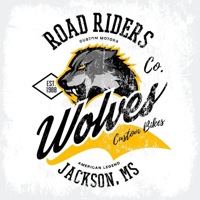 För vargcyklister för tappning som amerikansk rasande design för vektor för tryck för utslagsplats för klubba isoleras på den vit royaltyfri illustrationer