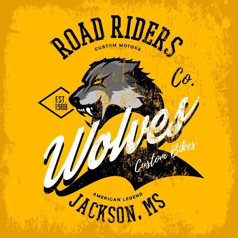 För vargcyklister för tappning som amerikansk rasande design för vektor för tryck för utslagsplats för klubba isoleras på gul bak stock illustrationer