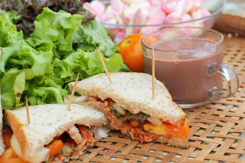 För varm choklad och rosa tonfisksmörgås för marshmallower fotografering för bildbyråer