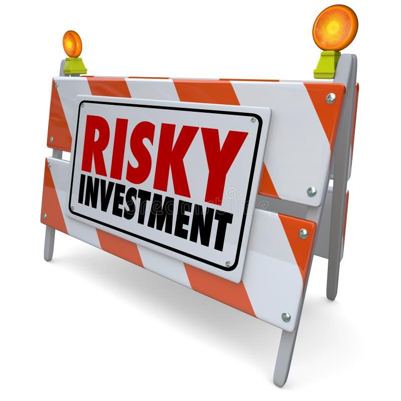 För varningstecken för riskabel investering varning för ledning för pengar för barriär royaltyfri illustrationer