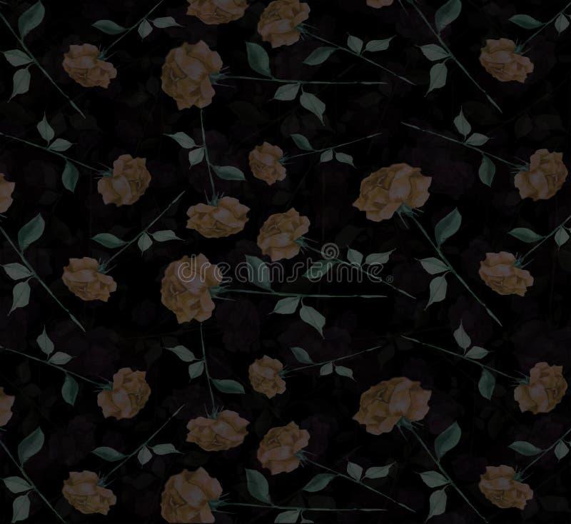 För vattenfärgabstrakt begrepp för sammet bakgrund för tapet för mystisk för ros konst för blomma sömlös royaltyfri foto