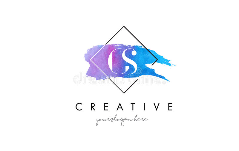 För vattenfärgbokstav för GS konstnärlig logo för borste royaltyfri illustrationer
