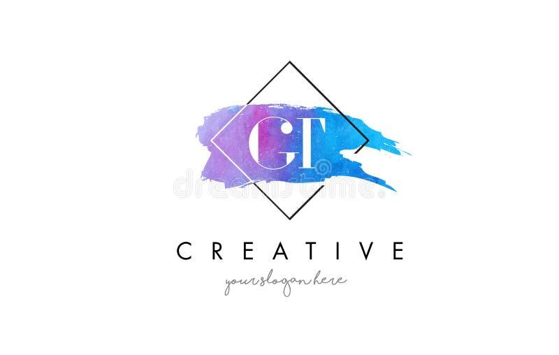 För vattenfärgbokstav för GT konstnärlig logo för borste stock illustrationer