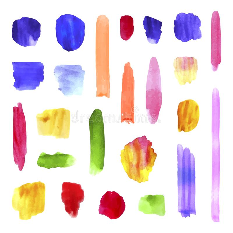 För vattenfärgborste för vektor färgrik samling för slaglängder, realistisk målarfärgtextur, färgstänk och prickar, utdragen bakg stock illustrationer