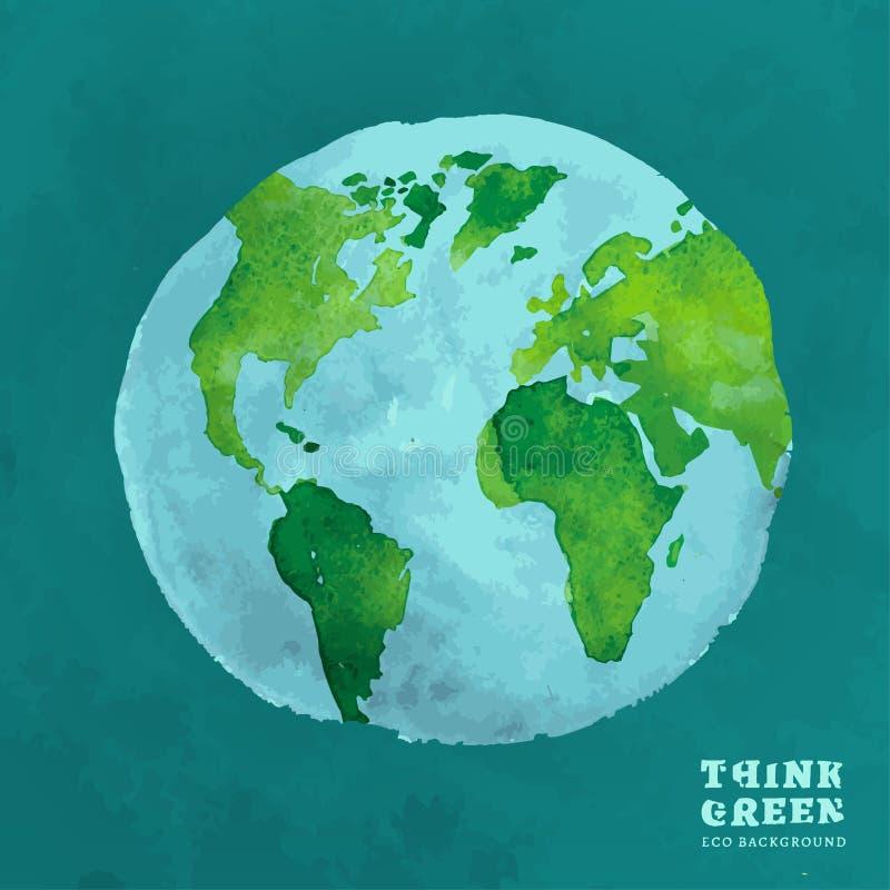 För vattenfärgeco för 01 jordklot begrepp stock illustrationer