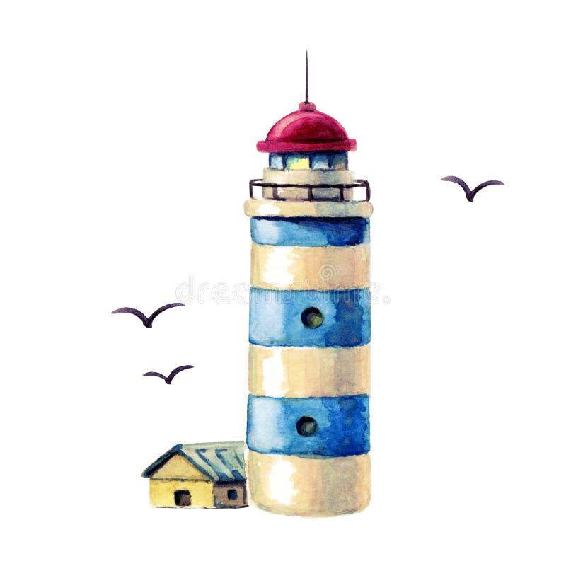 för vattenfärgfyr för hand utdragen illustration blå randig fyr med fiskmåsar som isoleras på vit It' s som är perfekt för k stock illustrationer