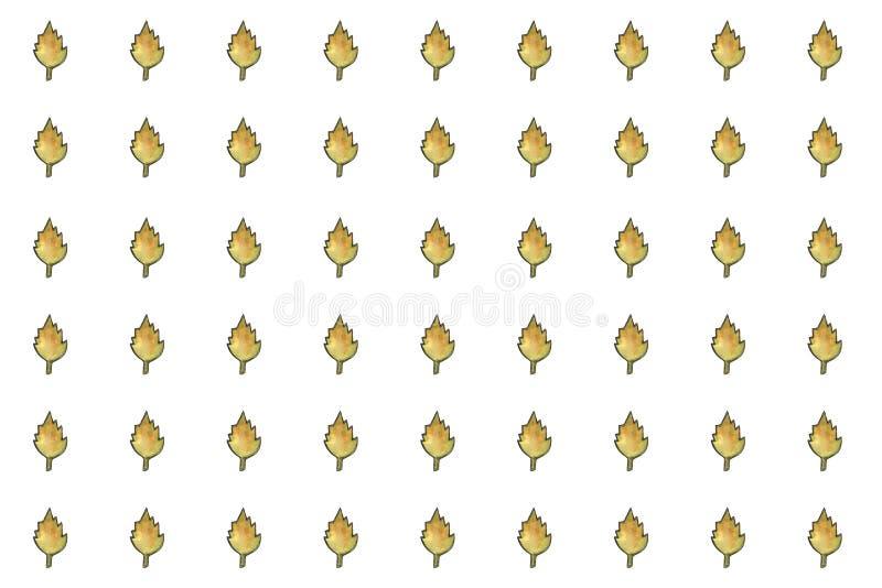 För vattenfärghöst för hand sömlös modell för utdraget blom- blad för champinjon på vit bakgrund Nedgång bladnedgång, tacksägelse vektor illustrationer