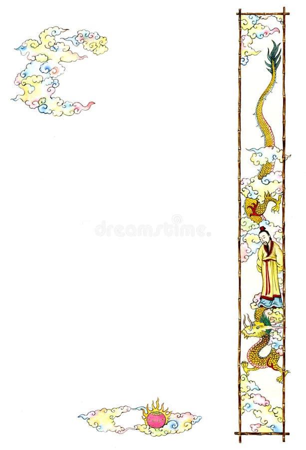 För vattenfärghand för kinesisk stil utdragna bilder med draken och moln som isoleras på vit vektor illustrationer