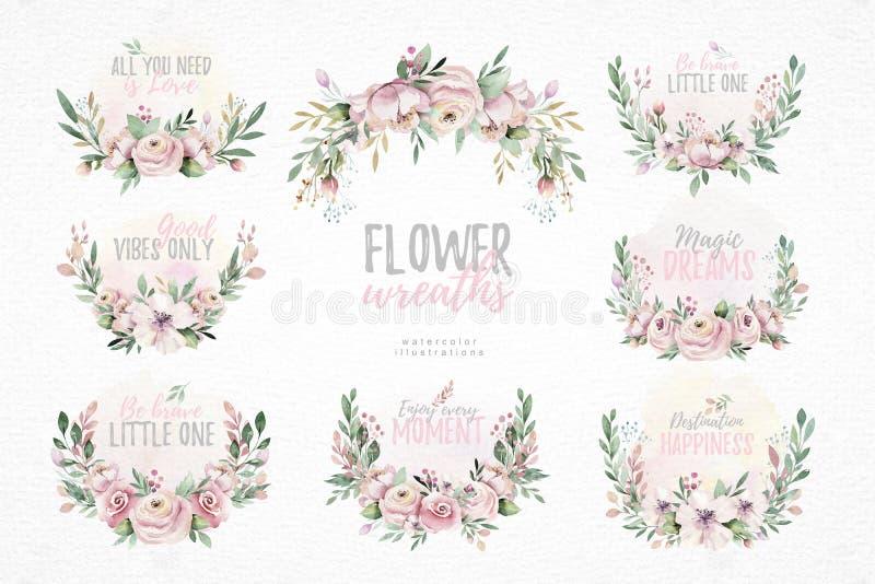 För vattenfärgkrans för hand utdragen illustration Isolerat botaniskt virvlar av gröna filialer och blommasidor Vår och stock illustrationer