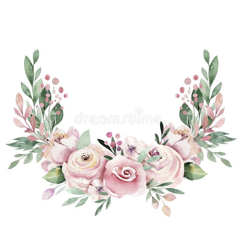 För vattenfärgkrans för hand utdragen illustration Isolerat botaniskt virvlar av gröna filialer och blommasidor Vår och vektor illustrationer