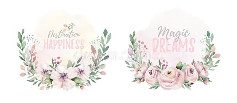 För vattenfärgkrans för hand utdragen illustration Isolerat botaniskt virvlar av gröna filialer och blommasidor Vår och royaltyfri illustrationer
