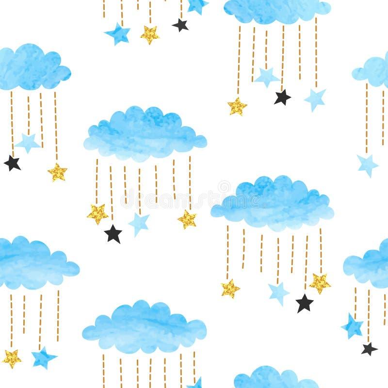 För för vattenfärgmoln och stjärnor för sömlös vektor blå modell royaltyfri illustrationer