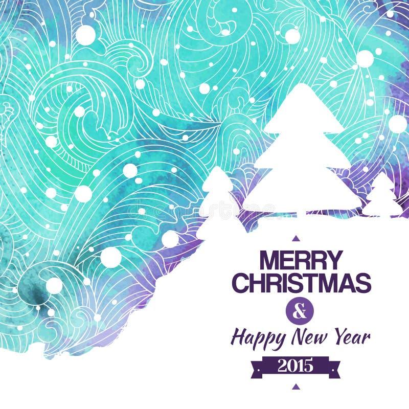 För vattenfärgteckning för glad jul bakgrund vektor illustrationer
